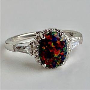 2 Carat Black Opal Ring, Size 7, NWOT